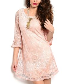 Peach Pink Lace Bell-Sleeve Dress by Buy in America #zulily #zulilyfinds
