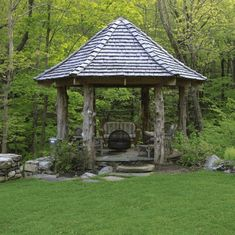 Gazebo Roof Design  Under these gazebo roof, you can enjoy sitting with family and friends. You can opt another style of gazebo roof, which is made in elevated form but it remains even from one side to other leaving some space from both sides and this gazebo can be made standing over four posts on four corners.