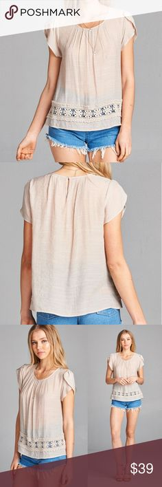 NEW Tulip sleeves top Khaki round neck with tulip sleeves and crochet accent top. Rayon/polyester blend.  Sizes: Small (fits 2-4), Medium (fits 6-8), Large (fits 10-12) Nadia Rima Tops Blouses