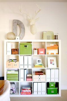 A shelf well organized.