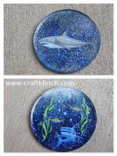 shark week, shark, shark coaster, craft ideas, shark craft, gift, glitter, glitter craft, resin, resin craft, craftklatch, craft klatch