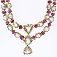 . 21.23 Carat Rose Cut Diamond, 31.95 Carat Oval Cut Burma Ruby and 18 Karat Yellow Gold Necklace.