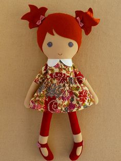 Reserved for MrsJGray Fabric Doll Rag Doll Red от rovingovine