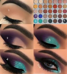 Gorgeous Makeup: Tips and Tricks With Eye Makeup and Eyeshadow – Makeup Design Ideas Makeup Eye Looks, Eye Makeup Steps, Skin Makeup, Eyeshadow Makeup, Teal Eyeshadow, Makeup Brushes, Makeup Remover, Glitter Eyeshadow Tutorial, Purple Eyeshadow Looks