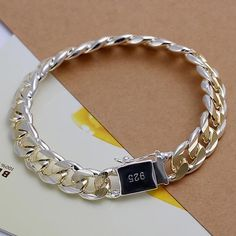 New Fashion Sterling Silver gold plated 10MM Men Chain Bracelet Jewelry Gift Box
