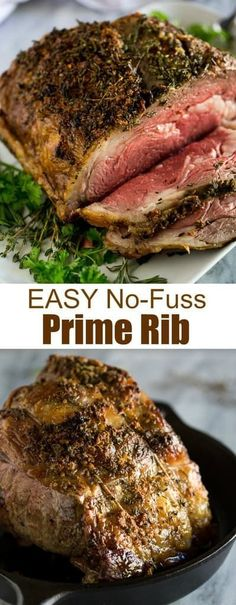 A slow roasted Prime Rib recipe with step by step instructions and tips for how to slow roast a boneless or bone-in prime rib. via Recipes step by step Easy, No-Fuss Prime Rib Prime Rib In Oven, Prime Rib Roast Recipe Bone In, Boneless Prime Rib Recipe, Cooking Prime Rib Roast, Slow Roasted Prime Rib, Beef Rib Roast, Boneless Ribs, Prime Rib Recipe Easy, Bone In Rib Roast