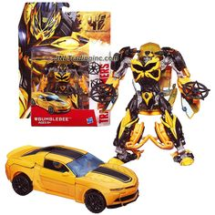 "Hasbro Year 2014 Transformers Movie Series 4 ""Age of Extinction"" Deluxe Class 5 Inch Tall Robot Action Figure - Autobot BUMBLEBEE with 2 Throwing Stars (Vehicle Mode: 2015 Camaro Concept)"