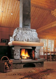 solid stone fireplace