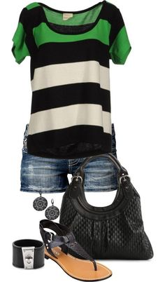 Black, green, and cream top with jean shorts and sandals.