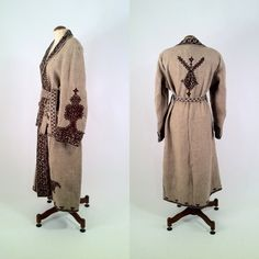 Vintage 1970s Ethnic Hand Knotted Wool Great Coat by SLVintage