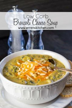 Come home to a warming bowlful of this easy Low Carb Broccoli Cheese Soup recipe. It's the best thick, and comforting vegetable soup that's Atkins and Keto friendly. #ErrensKitchen #recipe #lunchideas #soup #lowcarb #keto #broccolicheese #soupideas #creamysoup #broccoli #ketorecipes #vegetarian