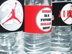 Air Jordan Jumpman Water Bottle Labels - $7.75 Labels, Stickers, Water, Bottle, Michael, Jordan, Air, Chicago Bulls, Red, Black, White, Baby Shower, Birthday, Printable, Stationery, Party, Basketball, 23, NBA, Slam Dunk, Hoop, Fresh, Kicks, JumpMan