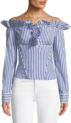 Marques Almeida Marques'almeida Off-the-Shoulder Ruffle Stripe Cotton Blouse Cotton Blouses, Shirt Blouses, Polka Dot Blouse, Ruffle Blouse, African Blouses, Shirt Refashion, African Fashion Dresses, Trendy Tops, Blouse Styles