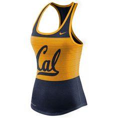 Nike Women's California Golden Bears Dri-Blend Mesh Tank Top ($16) ❤ liked on Polyvore featuring activewear, activewear tops, navy, golden bear sportswear, nike, nike sportswear and nike activewear