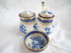 Rare and Complete 7 Piece Booth's Real Old Blue Willow Condiment Set