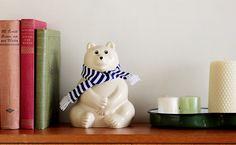 Polar Bear Money Box/白くま貯金箱(マフラー付き)