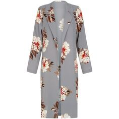 Cameo Rose Light Grey Floral Print Duster Coat (46 BRL) ❤ liked on Polyvore featuring outerwear, coats, jackets, tops, light gray coat, duster coats, rose coat, floral print coat and floral coats