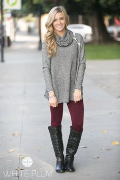 2 For the Price of Fleece Leggings, Winter Outfits, Winter Clothes, Autumn Winter Fashion, Fall Fashion, Grey Shirt, Stay Warm, Cute Outfits, Plus Size