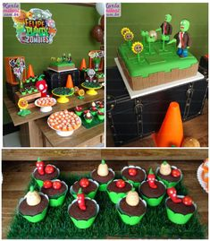 Plants vs. Zombies themed birthday party via Kara's Party Ideas KarasPartyIdeas.com Cakes, decor, desserts, cupcakes, printables, and more! ...