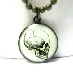 Skull Necklace Cracked Skull Jewelry Spooky Gothic Halloween Pendant Necklace Costume Jewellery. $10.00, via Etsy.