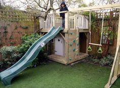 Image result for narrow garden design childrens climbing frame