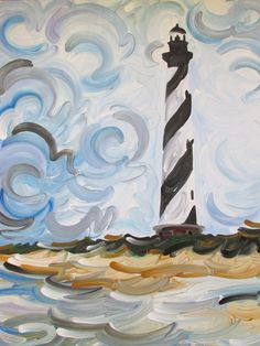 Cape Hatteras Lighthouse Painting by Justin Patten Art North Carolina Outer Banks Beach Buxton Sand
