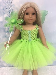 """Adorable tutu dress for the American Girl 18"""" doll. This item comes with the dress,wand and wings. 