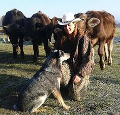 Cattle with owner and herd dog.