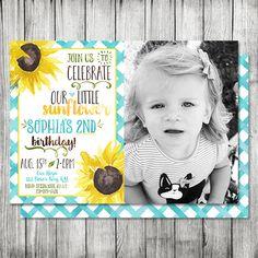 Photo Sunflower Birthday Invite  Fall by CherryBerryDesign on Etsy