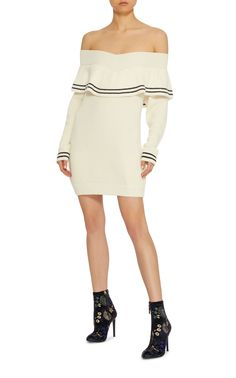 Ruffled Wool and Cotton-Blend Sweater Dress by SELF PORTRAIT Now Available on Moda Operandi