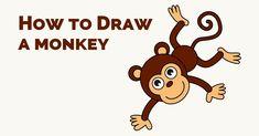 Monkey Drawing Cute, Cartoon Monkey Drawing, Cute Monkey, Cartoon Drawings, Animal Drawings, Easy Drawings, Pencil Drawings, Popular Cartoons, Cool Cartoons