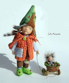 Miniature Dollhouse Gnome OOAK Head + Obitsu body + OOAK Outfit 12th Scale