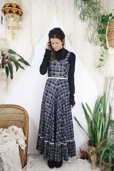 70s Plaid Maxi Dress Black White  Vintage Boho Summer Sundress #renewvintage