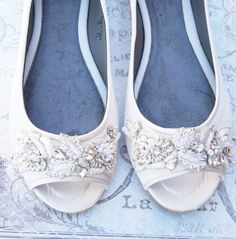 Beaded Bridal Peep toe flat