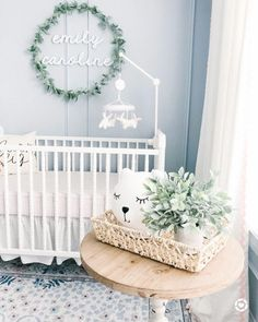 A space that represents you and the life you will live in it. Blue Nursery Girl, Light Blue Nursery, Baby Girl Nursery Themes, Nursery Twins, Baby Boy Rooms, Nursery Neutral, Baby Room Decor, Girl Rooms, Blue Girl Nurseries