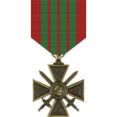 French Croix De Guerre Medal - WWII Criteria: The French Croix de Guerre (Cross of War) is a French Military award commonly bestowed upon foreign military fo. Us Military Medals, Military Awards, Military Orders, War Medals, Service Medals, Grand Cross, Military Insignia, National Archives, Chivalry