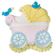 Birds, blooms and basketweave texture bring delightful dimension to this Baby Buggy cake.