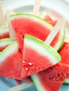 Meloen 'ijsjes', leuke traktatie kinderverjaardag.