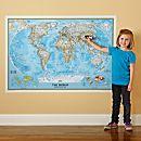 Repositionable World Map, Blue Ocean