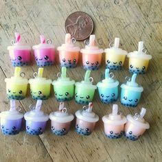 Kawaii Bubble/Boba Tea Charm Polymerclay by TheClayCroissant Fimo Kawaii, Polymer Clay Kawaii, Kawaii Crafts, Kawaii Diy, Polymer Clay Charms, Polymer Clay Miniatures, Polymer Clay Creations, Diy Clay, Clay Crafts