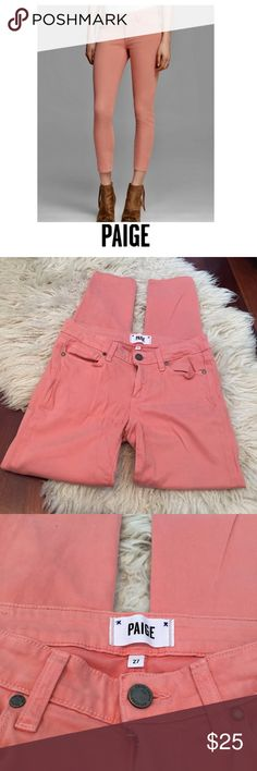 """Paige Verdugo Ankle Salmon Pink Skinny Jeans Paige Verdugo Ankle Salmon Pink Skinny Jeans. Size 27 which is a 4. 8.5"""" rise. 28"""" inseam. Gently worn. Great condition. Feel free to make an offer or bundle & save! Paige Jeans Jeans Skinny"""