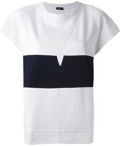 Jil Sander Navy block stripe crew neck T-shirt - Shop for women's T-shirt - WHITE T-shirt Jil Sander, Shirt Shop, Mens Tees, Neck T Shirt, Navy And White, Crew Neck, T Shirts For Women, How To Wear, Shopping