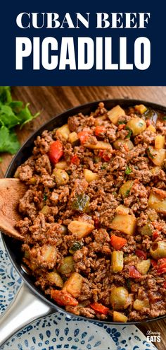 Cuban Beef Picadillo - a delicious hearty ground beef Cuban inspired recipe with flavoursome spices, potatoes, vegetables, olives and sultanas. Cuban Dishes, Beef Dishes, Meat Dish, Beef Picadillo, Mexican Picadillo Recipe Ground Beef, Turkey Picadillo Recipe, Ground Beef Recipes Mexican, Minced Beef Recipes, Beef Mince Recipes