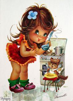 vintage girl card