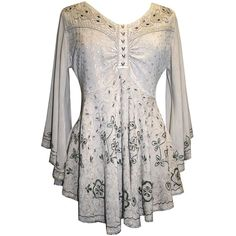 Agan Traders Women's Medieval Butterfly Embroidered Flair Bell Sleeve... ($44) ❤ liked on Polyvore featuring tops, tunics, embroidery top, bell sleeve tunic, butterfly top, white embroidered top and bell sleeve tops