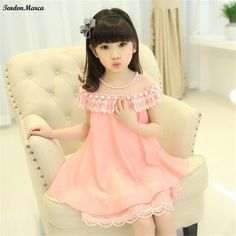 2017 New Summer Costume Girls Princess Dress Children's Evening Clothing Kids Chiffon Lace Dresses Baby Girl Party Pearl Dress #Affiliate