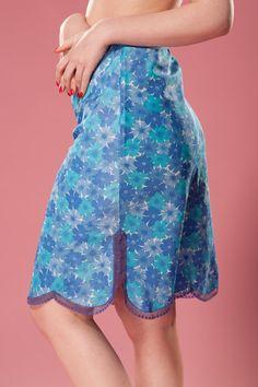 lingerie pretty 1960s 60s lingerie Vintage retro slip with lace trim full slip turquoise teal small robin egg blue