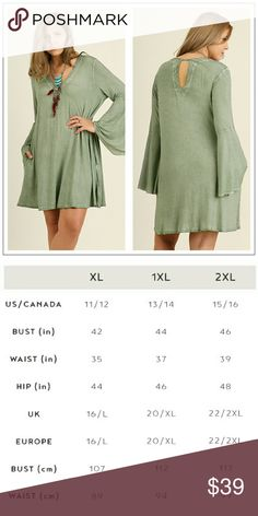 """PLUS SIZE▪Vee Neck Tunic with Bell Sleeves This tunic or mini dress is made of soft and stretchy material in sage with a pretty washed effect. It features a vee neck and a key hole detail in back and pockets 💙. Runs TTS  L: 34"""" - see chart for other measurements. Note that different styles may vary so if you have questions about sizing don't hesitate to ask.  👉 Price is firm unless bundled. 15% off 3+, free shipping with 4 or more. Tops Tunics"""