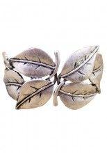 Vintage Silver Leaf Bangle Bracelet