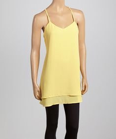 Look what I found on #zulily! Yellow Chiffon Racerback Tunic by Dani Collection #zulilyfinds